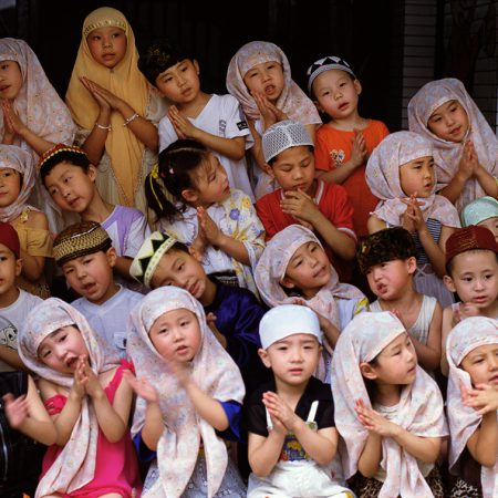 Chinese children singing in Xian, Shanxi Province, China